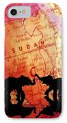 Elephant Silhouettes In Front Of A Map IPhone Case by Chris Knorr