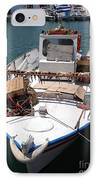 Fishing Boat With Octopus Drying IPhone Case by Jane Rix