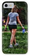 Girl Walking Dog IPhone Case by Paul Ward