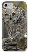 Great Horned Owl Pale Form Kootenays IPhone Case by Tim Fitzharris