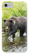 Grizzly Cub Catching Fish In Fish Creek IPhone Case by Richard Wear