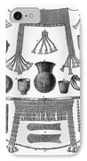 Heinrich Schliemann (1822-1890). German Traveller And Archeologist. Some Of The Antiquities Excavated By Schliemann At Hissarlick, Turkey, Site Of Ancient Troy. Wood Engraving, English, 1877 IPhone Case by Granger