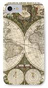 Map Of The World, 1660 IPhone Case by Photo Researchers