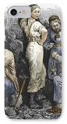 Miners And Their Wives, 19th Century IPhone Case by Sheila Terry