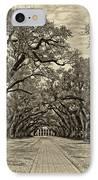 Oak Alley 3 Antique Sepia IPhone Case by Steve Harrington