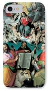 The Coronation Of The Virgin With Saints Luke Dominic And John The Evangelist IPhone Case by Bartolomeo Passarotti