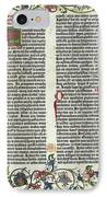 Page Of The Gutenberg Bible, 1455 IPhone Case by Photo Researchers