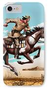 Pony Express Rider Historical Americana Painting Desert Scene IPhone Case by Walt Curlee