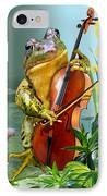 Humorous Scene Frog Playing Cello In Lily Pond IPhone Case by Regina Femrite