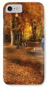 Autumn - People - A Walk In The Park IPhone Case by Mike Savad