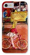 Biking To The Orange Julep IPhone Case by Carole Spandau