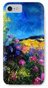 Blue And Pink Flowers IPhone Case by Pol Ledent