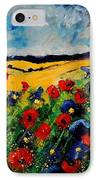 Blue And Red Poppies 45 IPhone Case by Pol Ledent