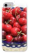 Cherries In Blue Bowl IPhone Case by Carol Groenen