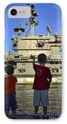 Children Wave As Uss Ronald Reagan IPhone Case by Stocktrek Images