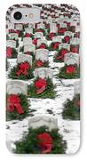 Christmas Wreaths Adorn Headstones IPhone Case by Stocktrek Images