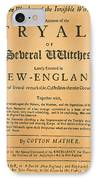 Cotton Mather, 1693 IPhone Case by Granger