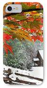 Fire Fog And Snowy Fence IPhone Case by Debra and Dave Vanderlaan