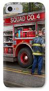 Firemen - The Modern Fire Truck IPhone Case by Mike Savad