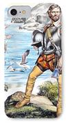 Francis Drake And The Golden Hind IPhone Case by Ron Embleton