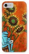 Frog I Padding Amongst Sunflowers IPhone Case by Xueling Zou