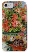 Geraniums And Cats IPhone Case by Pierre Auguste Renoir