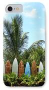 Hawaii Surfboard Fence IPhone Case by Michael Ledray