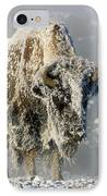 Hoarfrosted Bison In Yellowstone IPhone Case by Sandra Bronstein