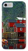 Lofoten Fishing Huts Oil IPhone Case by Steve Harrington