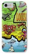 Louisiana Cartoon Map IPhone Case by Kevin Middleton