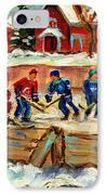 Montreal Hockey Rinks Urban Scene IPhone Case by Carole Spandau