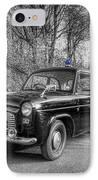Old British Police Car And Tardis IPhone Case by Yhun Suarez