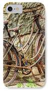 Old French Bicycles IPhone Case by Debra and Dave Vanderlaan