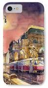 Prague  Night Tram National Theatre IPhone Case by Yuriy  Shevchuk