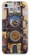 Prague The Horologue At Oldtownhall IPhone Case by Yuriy  Shevchuk