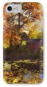 Red Barn In Autumn IPhone Case by Joann Vitali