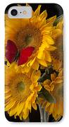 Red Butterfly With Four Sunflowers IPhone Case by Garry Gay