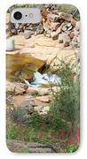 Slide Rock With Pink Wildflowers IPhone Case by Carol Groenen