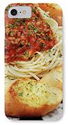 Spaghetti And Meat Sauce With Garlic Toast  IPhone Case by Andee Design