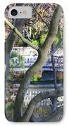 Springtime Bridge Through Japanese Maple Tree IPhone Case by Carol Groenen