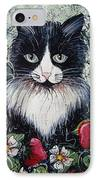 Strawberry Lover Cat IPhone Case by Natalie Holland