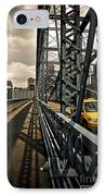 Taxi Crossing Smithfield Street Bridge Pittsburgh Pennsylvania IPhone Case by Amy Cicconi