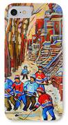 The Red Staircase Painting By Montreal Streetscene Artist Carole Spandau IPhone Case by Carole Spandau