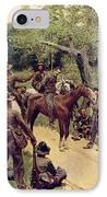 They Talked It Over With Me Sitting On The Horse IPhone Case by Howard Pyle