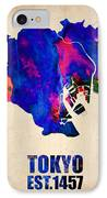 Tokyo Watercolor Map 2 IPhone Case by Naxart Studio