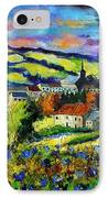 Village And Blue Poppies  IPhone Case by Pol Ledent