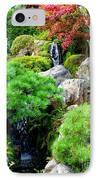 Waterfalls In Japanese Garden IPhone Case by Carol Groenen