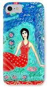 Woman Reading Beside Fountain IPhone Case by Sushila Burgess