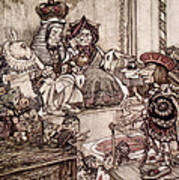 Knave Before The King And Queen Of Hearts Illustration To Alice S Adventures In Wonderland Poster by Arthur Rackham