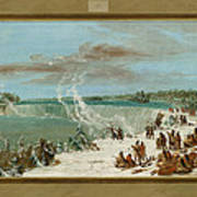 Portage Around The Falls Of Niagara At Table Rock Poster by George Catlin